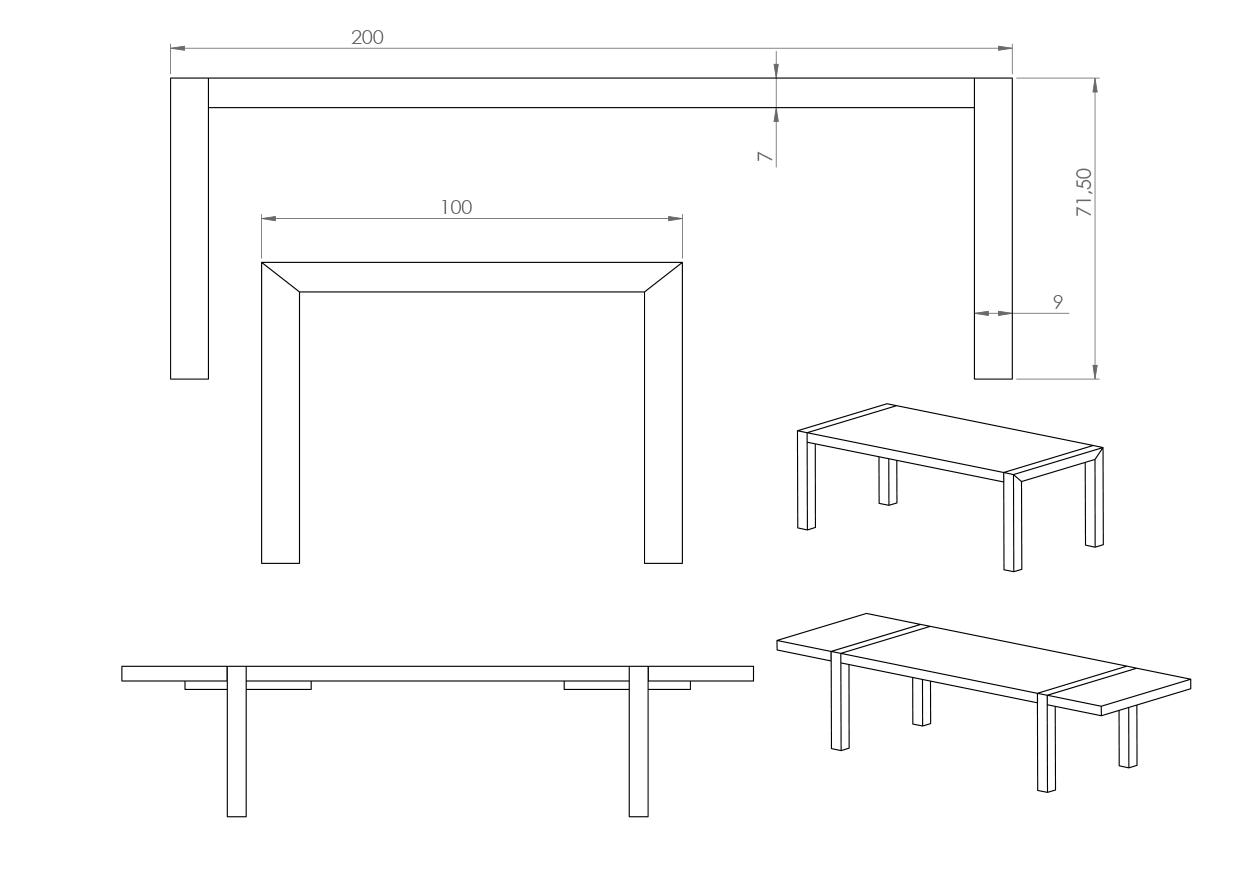 Eksempel Mondo spisebord med to tilleggsplater