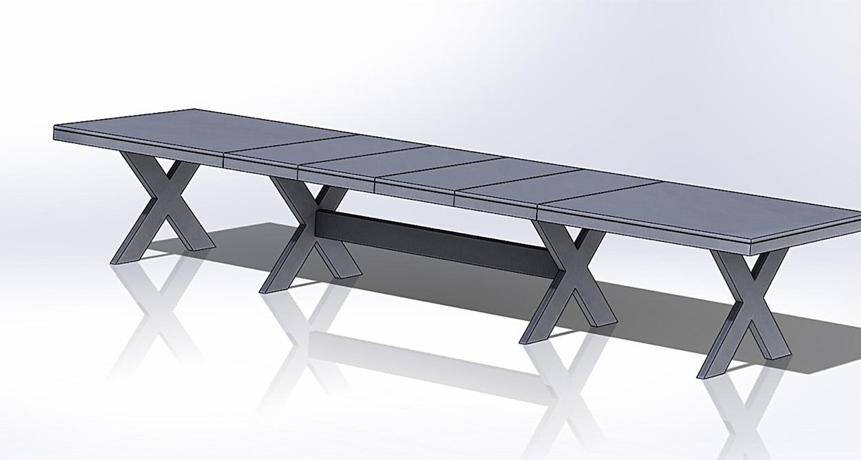 Eksempel Cross spisebord med doble ben