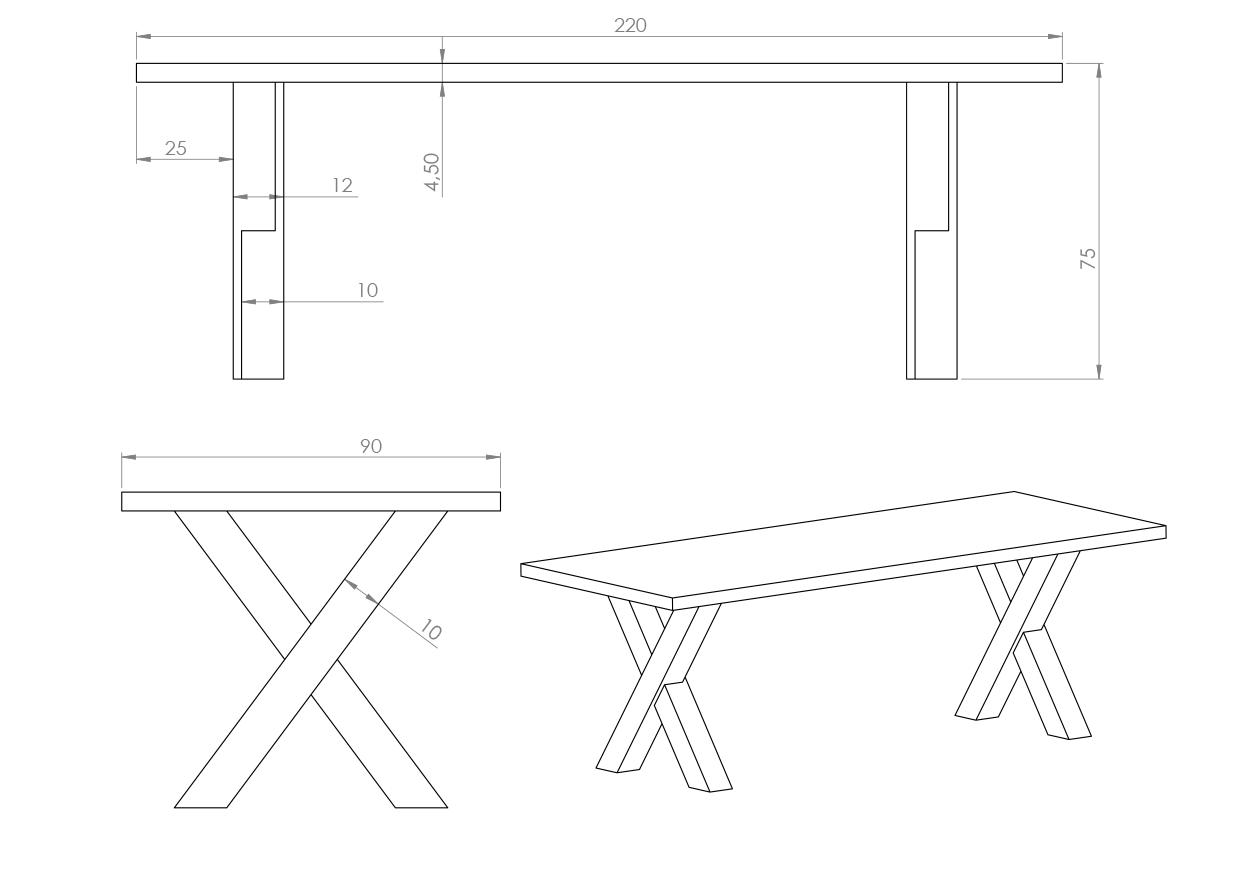 Eksempel Cross spisebord uten drager mellom bena