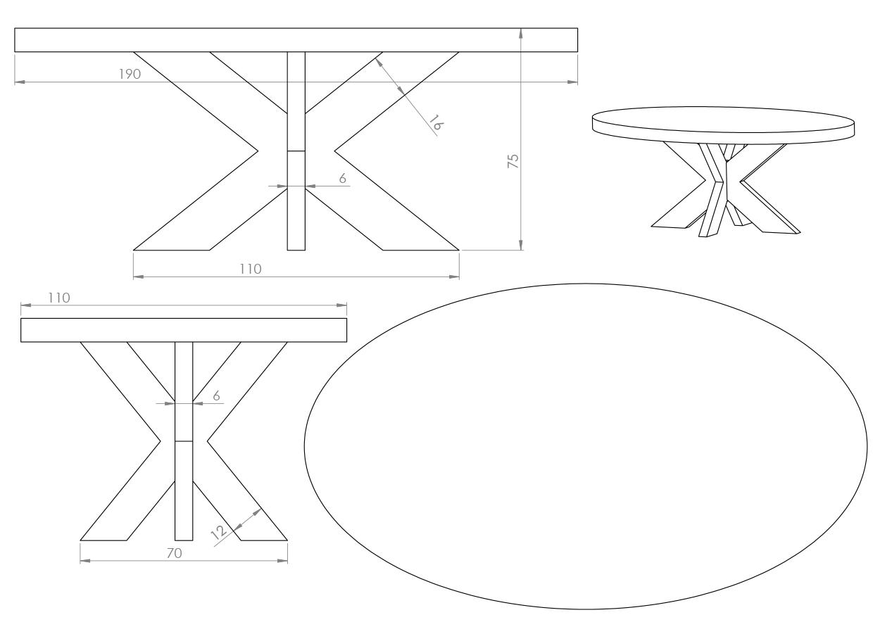 Eksempel ovalt Cross spisebord