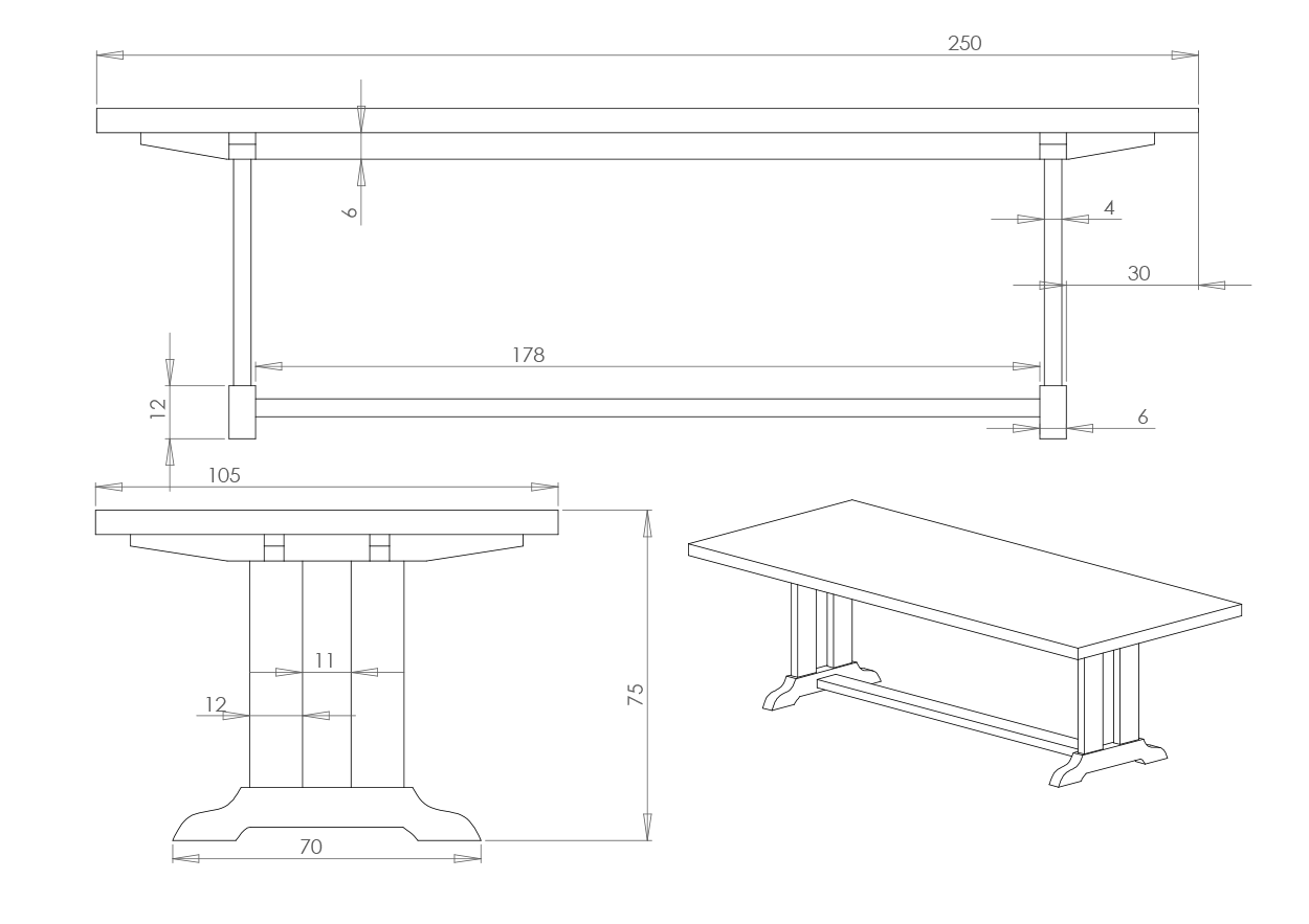 Eksempel spisebord. Tegning av modell Gammel Norsk