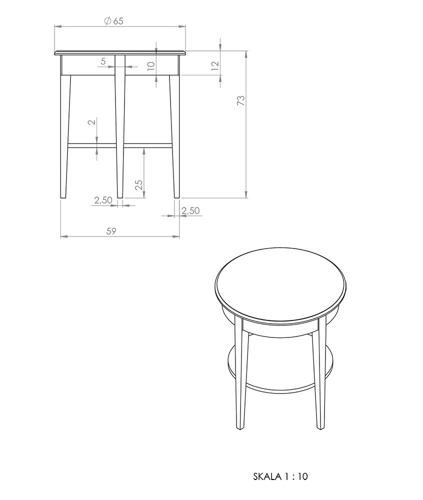 Eksempel lampebord/sidebord/nattbord