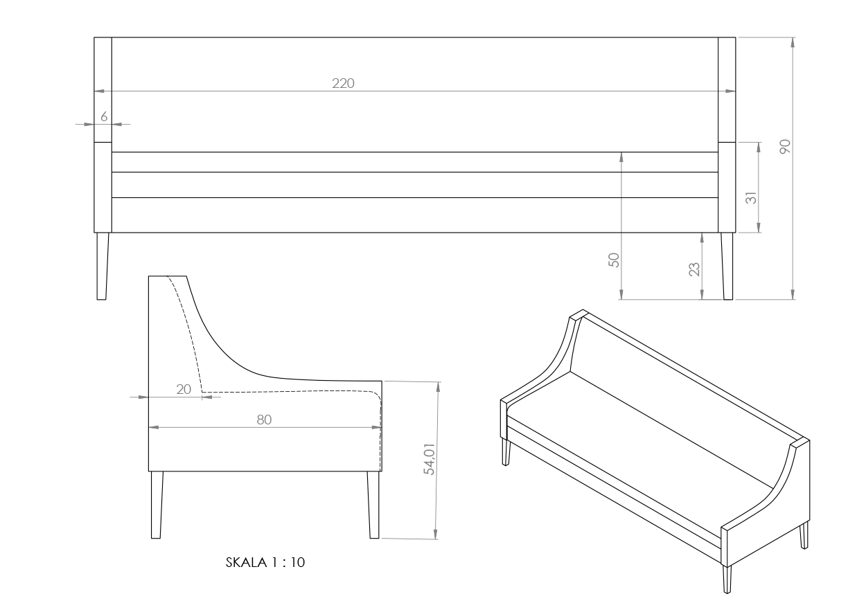 Eksempler sofabenk med spesial armlener