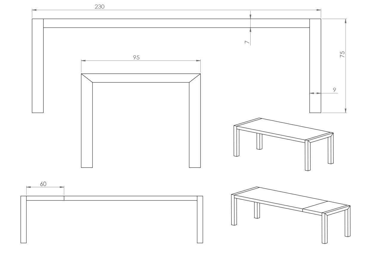Eksempel Mondo spisebord med en tilleggsplate