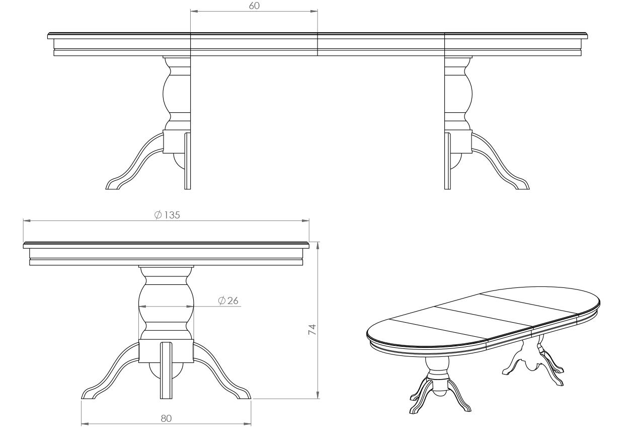 Eksempel Nordstrøm spisebord med to tilleggsplater og splittet ben