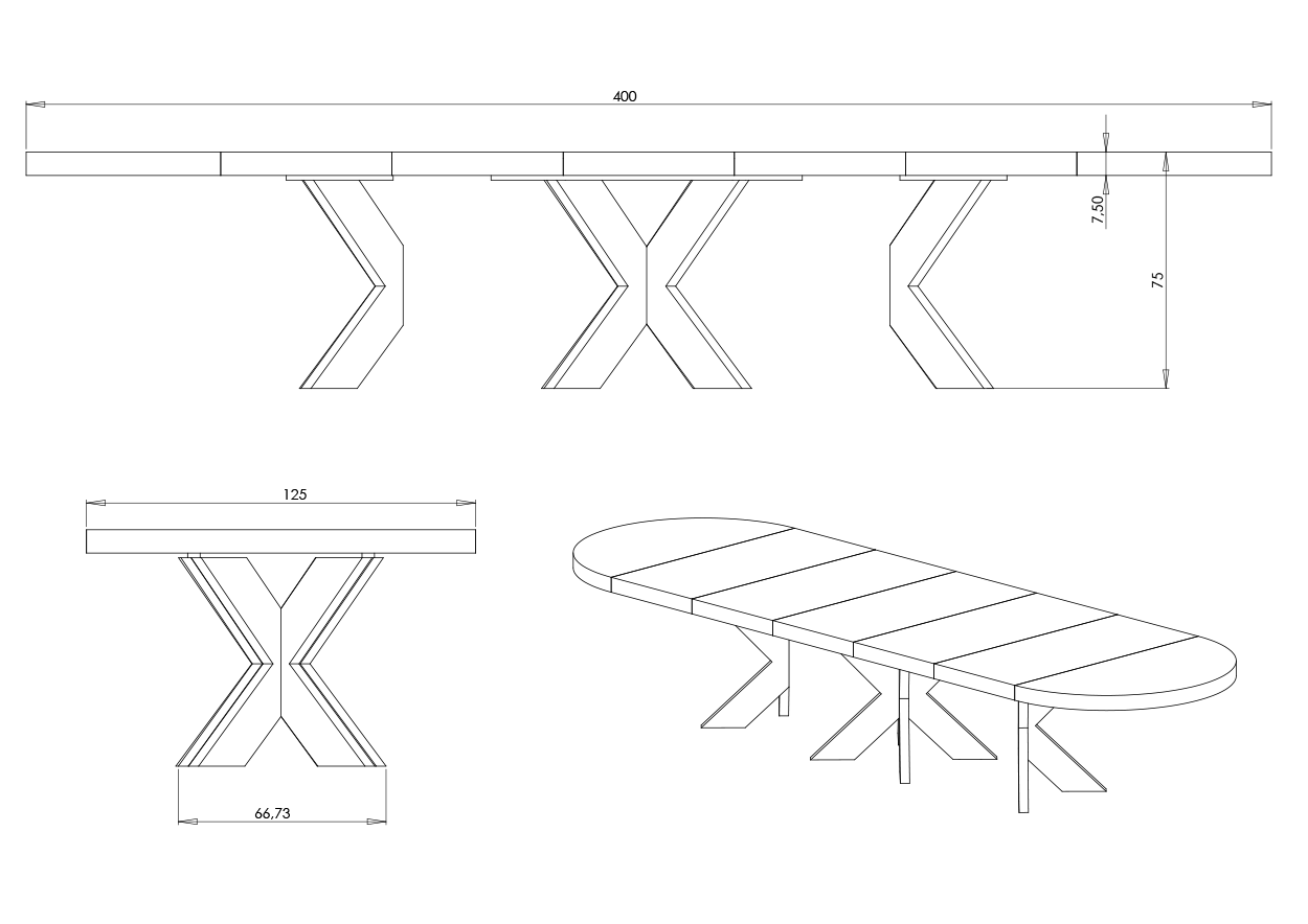 Eksempel rundt Cross bord med doble ben