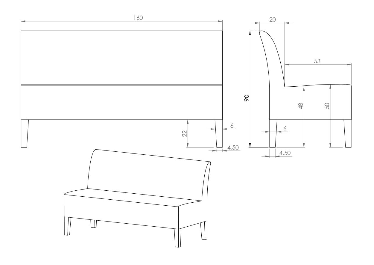 Eksempel sofabenk uten armlener