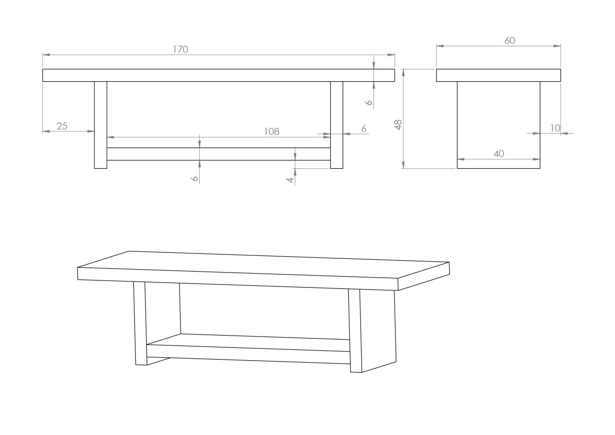 Eksempel sofabord med hylle