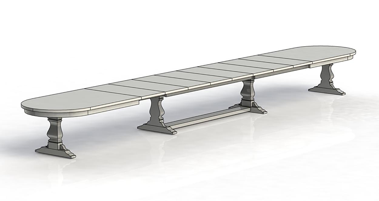 Eksempel ovalt Yggeseth spisebord med uttrekk