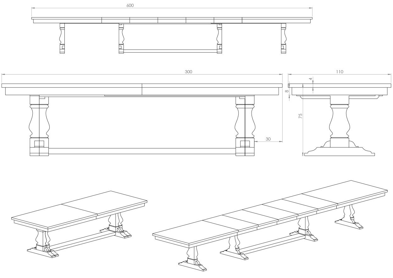 Eksempel Yggeseth spisebord med splittede ben for uttrekk