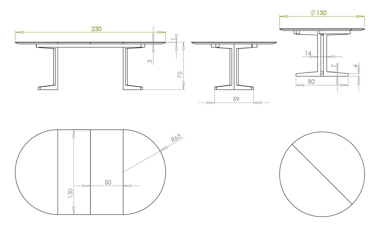 Eksempel rundt/ovalt Mia spisebord