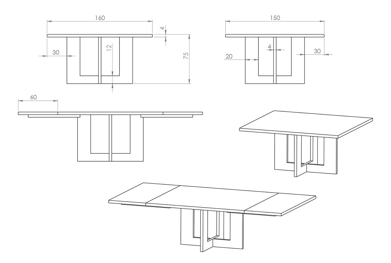 Eksempel på Kvadrat spisebord