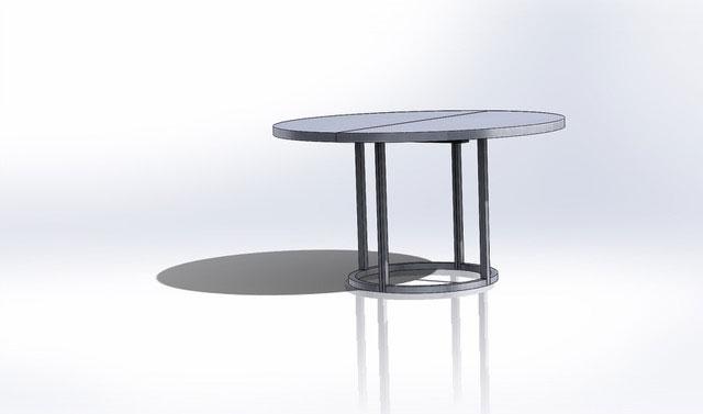 Eksempel på Caiax rundt spisebord med stålunderstell