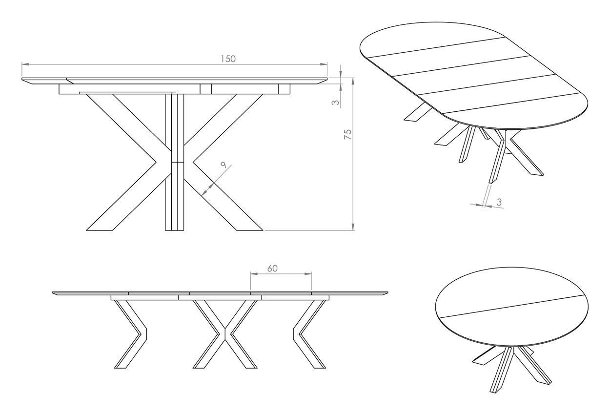 Eksempel rundt cross spisebord