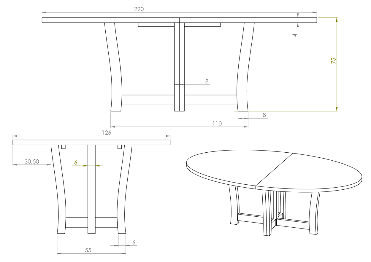 Eksempel rundt/ovalt MArgrethe spisebord