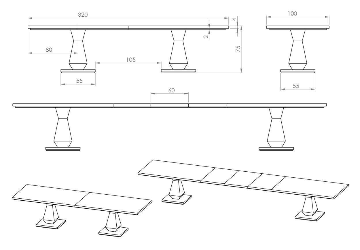 Eksempel Diamond spisebord som langbord